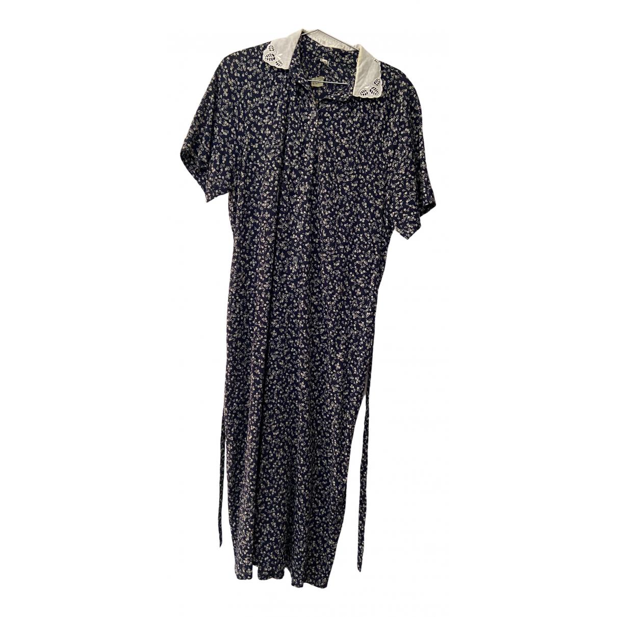 Non Signé / Unsigned N Blue Cotton dress for Women M International
