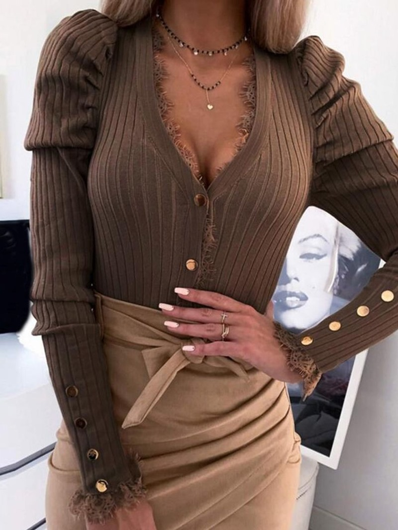 Ericdress Single-Breasted Regular Patchwork Long Sleeve V-Neck Sweater