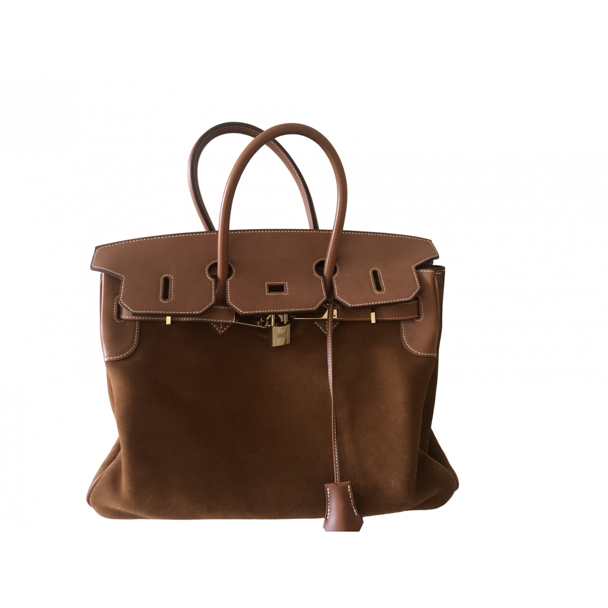 Hermès Birkin 35 Brown Suede handbag for Women \N
