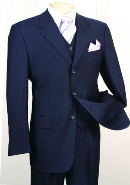 Mens 3 Piece Suit Navy 3 Button Jacket Wool with Vest