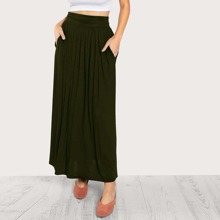 Hidden Pocket Side Gathered Jersey Skirt