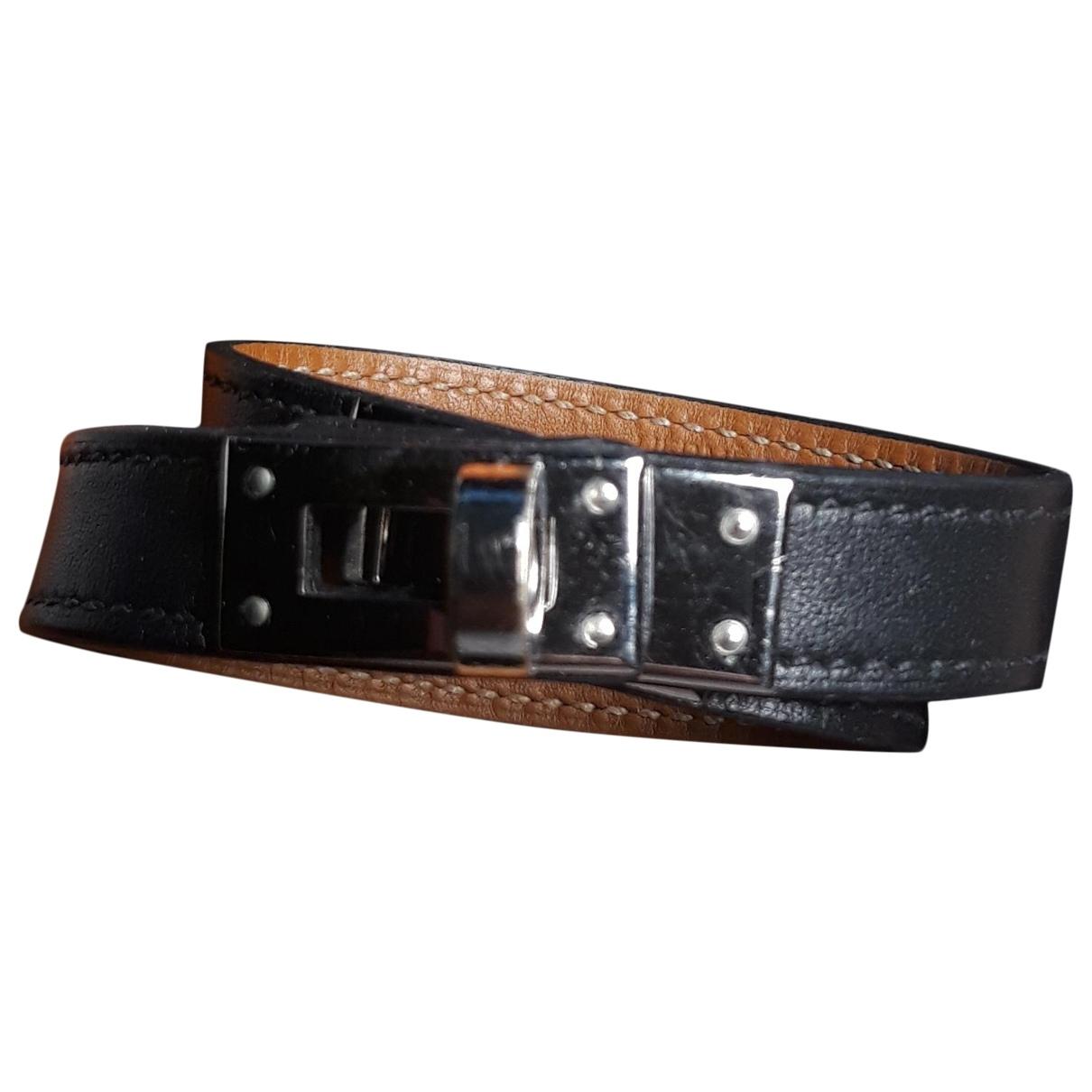 Hermes - Bracelet Kelly pour femme en cuir - noir
