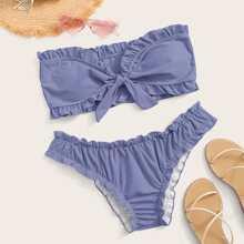 Frill Knot Front Bandeau Bikini Swimsuit