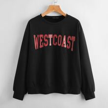 Drop Shoulder Letter Graphic Pullover