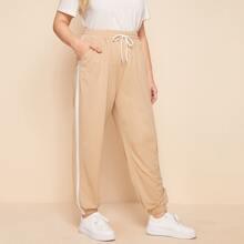 Plus Side Stripe Drawstring Sweatpants