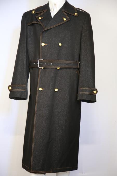 Mens Button Fastener Double Breasted Peak Lapel Zoot Suit Black