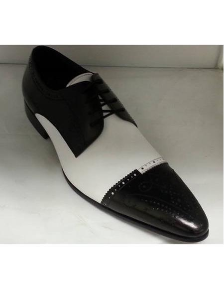 Men's Cushioned Insole Four Eyelet Lacing Black ~ White Leather Shoe