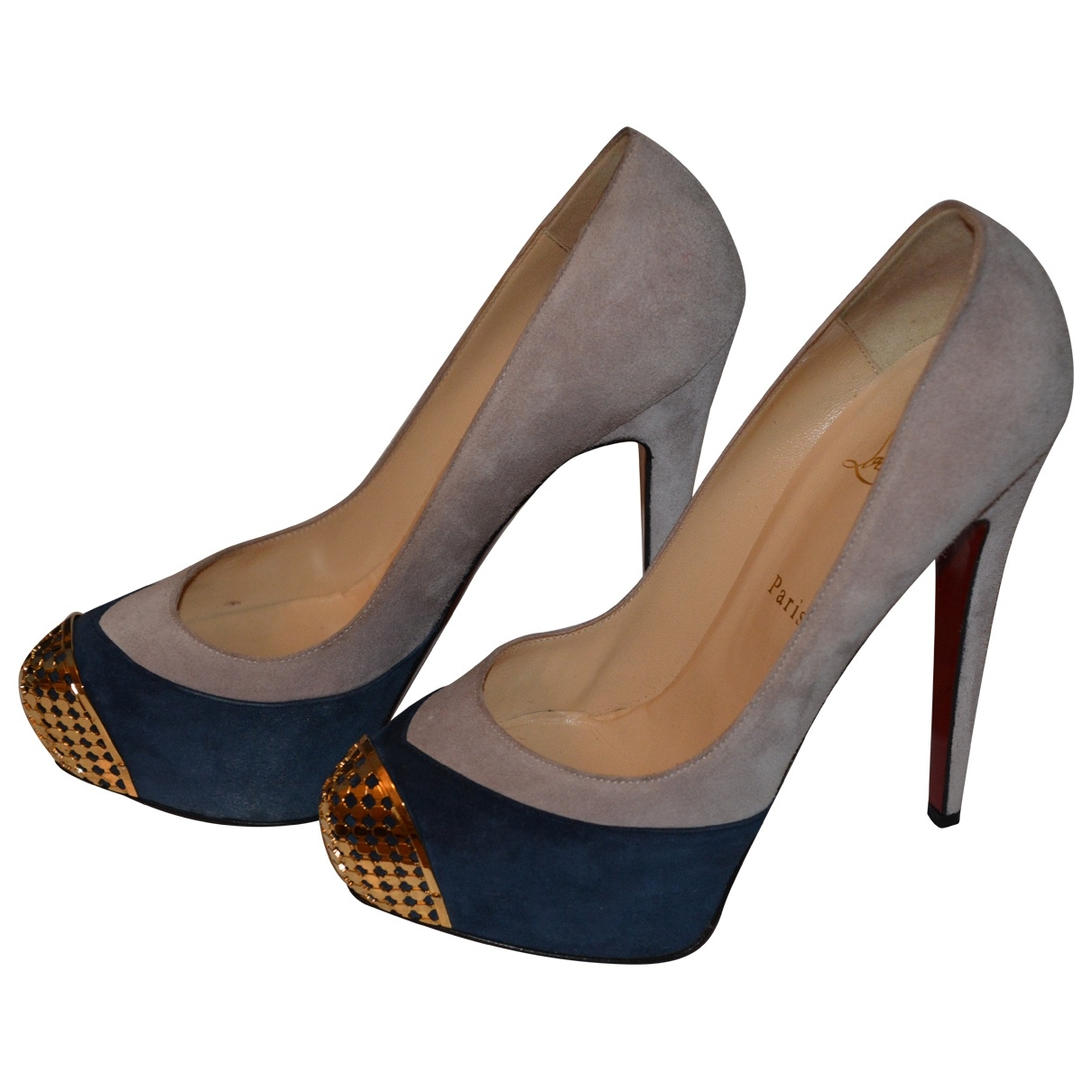 Christian Louboutin \N Blue Suede Heels for Women 38.5 EU