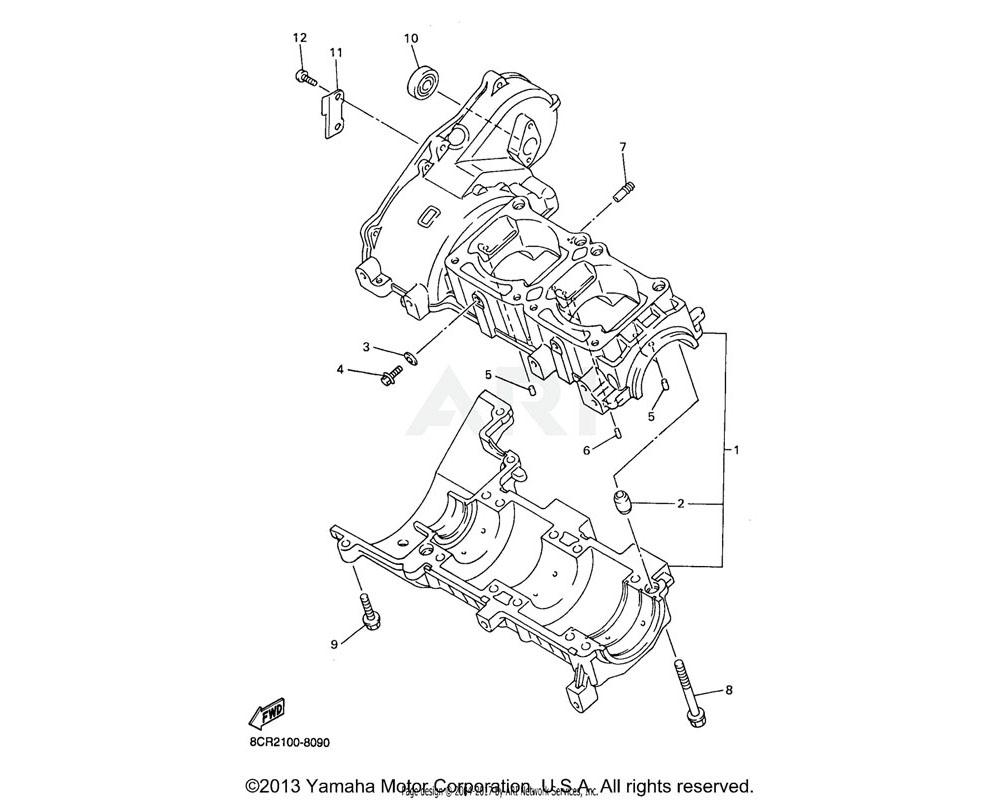 Yamaha OEM 8CR-15100-01-00 CRANKCASE ASSY