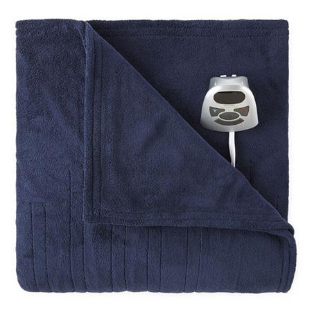 Sleep Well by Biddeford Heated Microplush Blanket, One Size , Blue