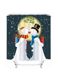Couple Snowman Lover Printing Bathroom 3D Shower Curtain
