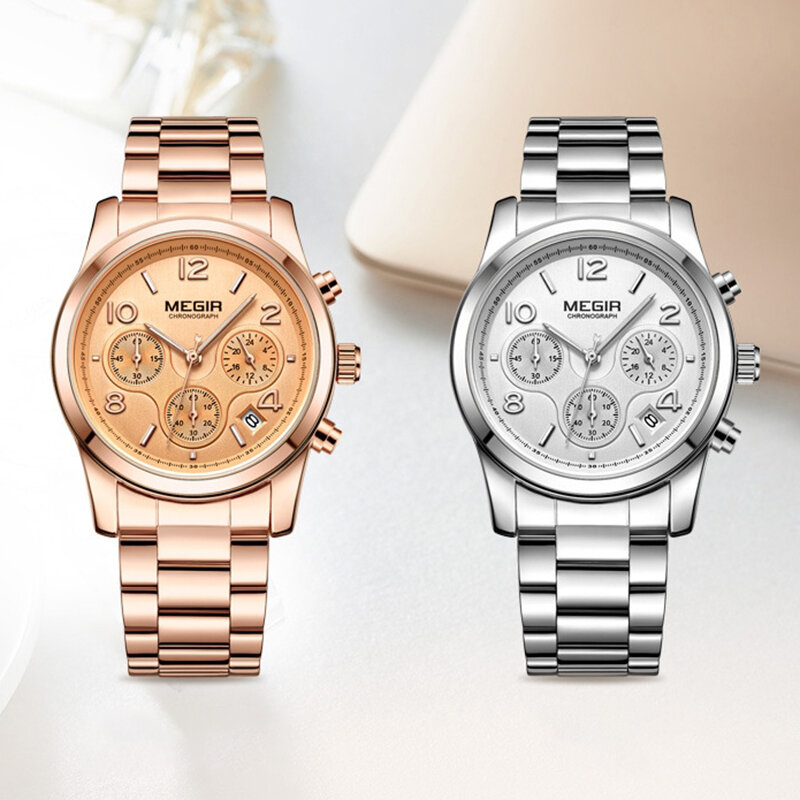 Fashion Women Wristwatch Steel Belt Calendar Chronograph Multifunction Quartz Watch
