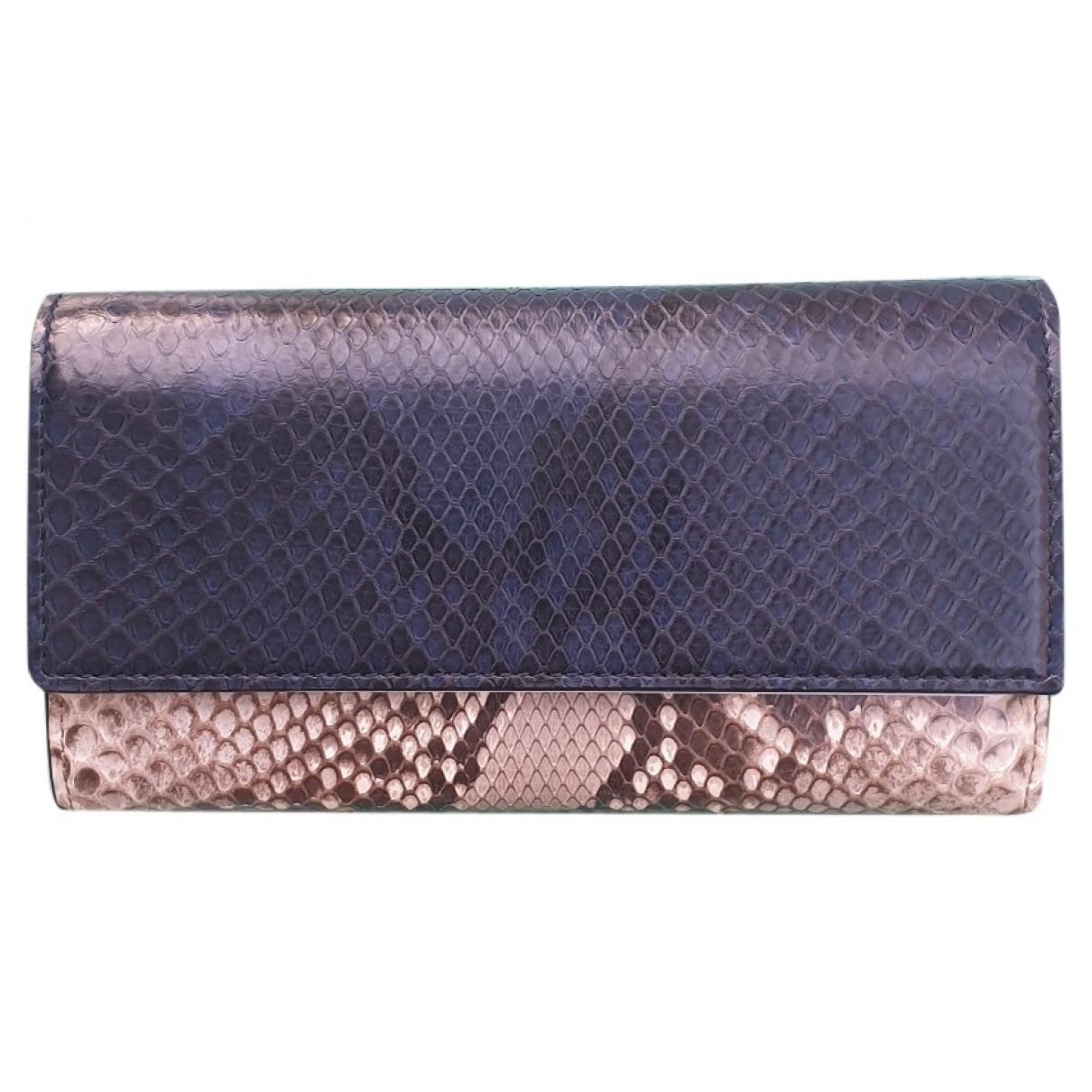 Gucci - Portefeuille   pour femme en python - bleu