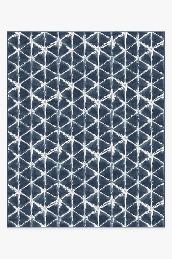 Washable Rug Cover & Pad | Diamond Shibori Navy Rug | Stain-Resistant | Ruggable | 8'x10'