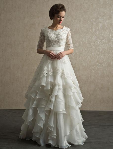Milanoo Vestido de novia de organza con escote redondo y capas
