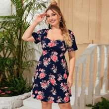 Plus Sweetheart Neck Ruched Front Floral Print Dress