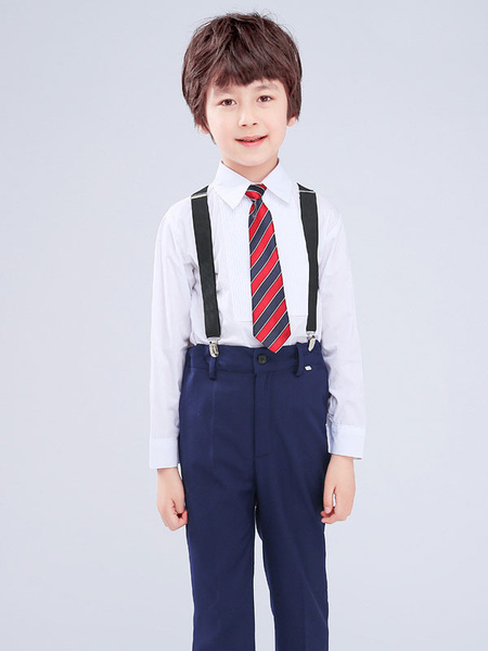 Milanoo Ring Bearer Blue Suits Cotton Long Sleeves Shirt Pants Tie Wedding Boy Suits 3pcs