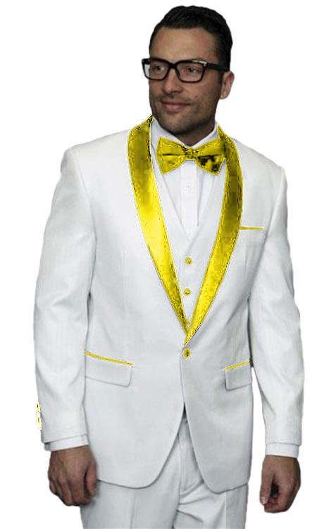 Mens Alberto Nardoni White Tuxedo Tux Gold Yellow Wedding Prom Suit