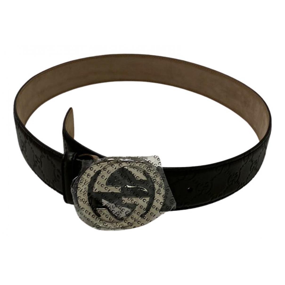Gucci Interlocking Buckle Black Leather belt for Women M International
