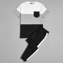 Top mit Taschen Flicken und Farbblock & Jogginghose mit seitlichem Streifen Set