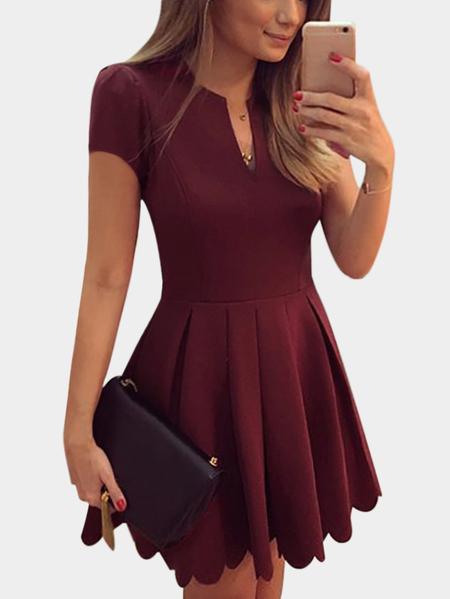 Yoins Burgundy V-neck Short Sleeves High-waisted Design Dress