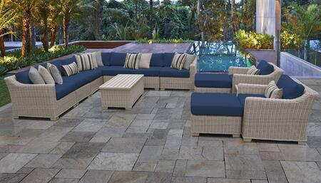 Coast Collection COAST-13a-NAVY 13-Piece Patio Set 13a with 1 Corner Chair   4 Armless Chair   2 Ottoman   1 End Table   1 Storage Coffee Table   2