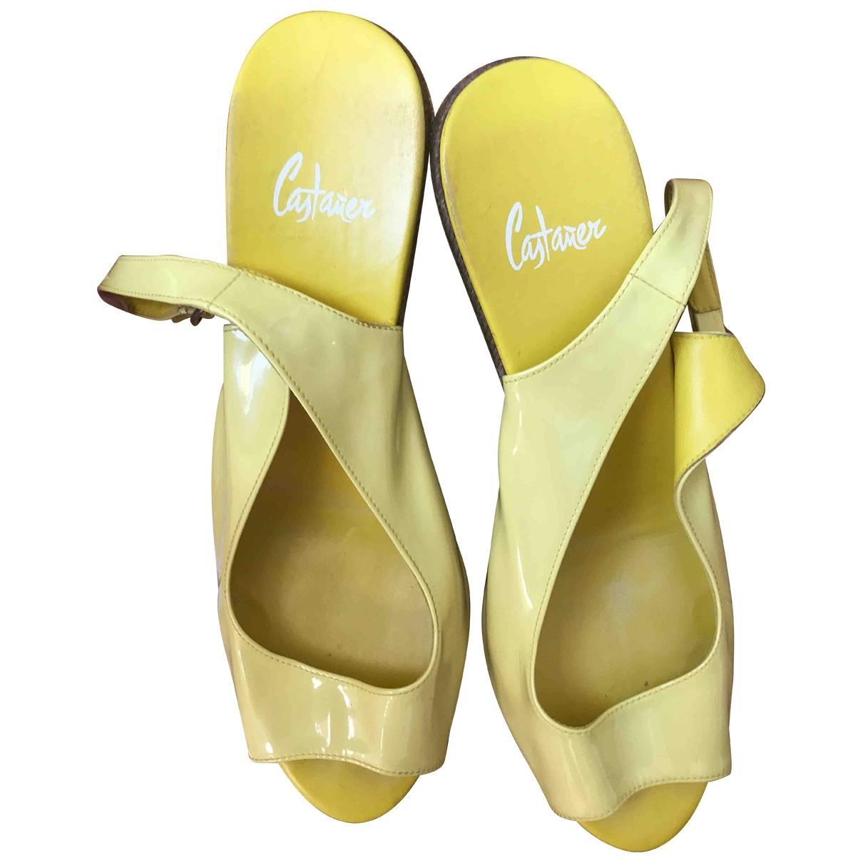 Castaner - Espadrilles   pour femme en cuir verni - jaune