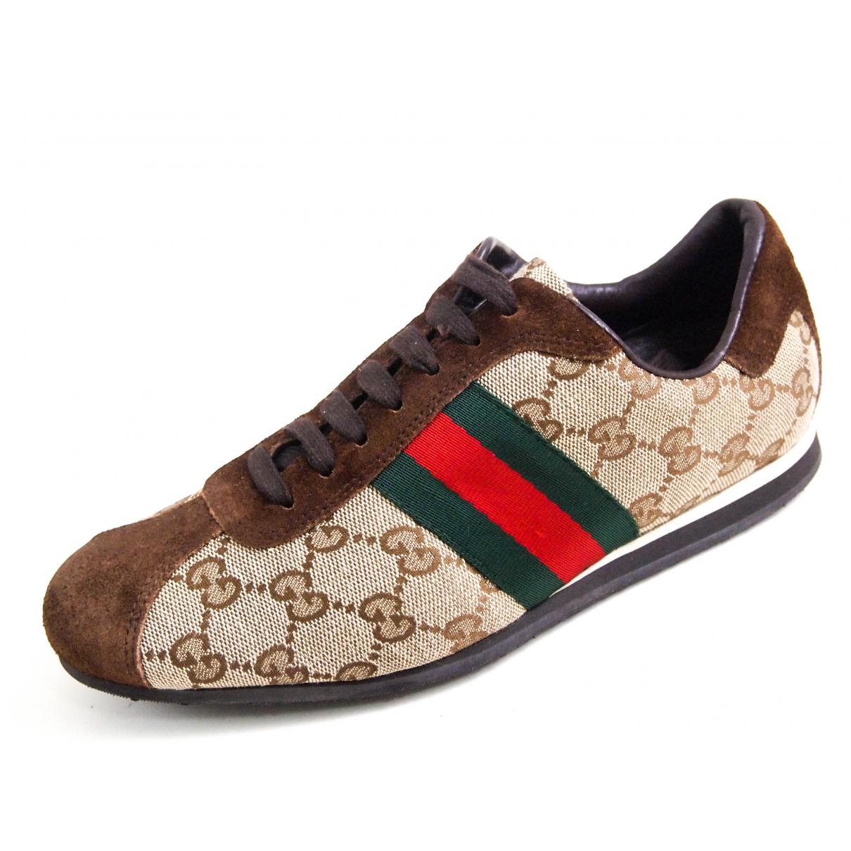 Gucci - Baskets   pour femme en suede - marron
