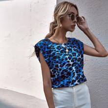 Bluse mit Leopard Muster und Schulterpolster