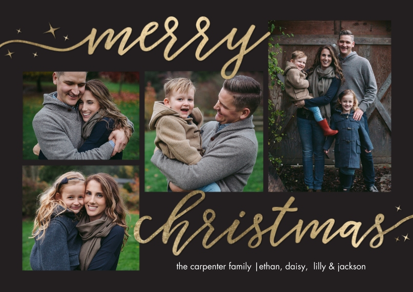 Christmas Photo Cards 5x7 Cards, Standard Cardstock 85lb, Card & Stationery -Christmas Script Woodgrain by Tumbalina