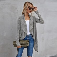 Solid Waterfall Collar Open Front Coat