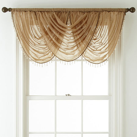 Home Expressions Crushed Voile Rod-Pocket Waterfall Valance, One Size , Yellow