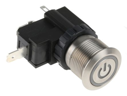 RS PRO Single Pole Single Throw (SPST) Maintained White LED Push Button Switch, IP67, 19.1 (Dia.)mm, Panel Mount, Power (20)