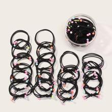 20pcs Toddler Girls Bead Decor Hair Tie With Case