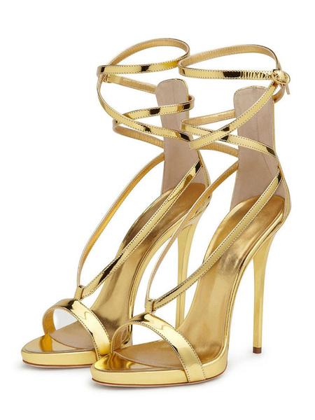 Milanoo Sandalias de tacon alto Sandalias de noche con tiras de oro para mujer