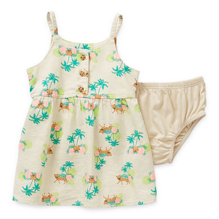 Okie Dokie Baby Girls Sleeveless A-Line Dress, 3 Months , White