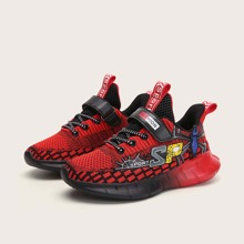 Boys Spider Graphic Velcro Strap Knit Sneakers