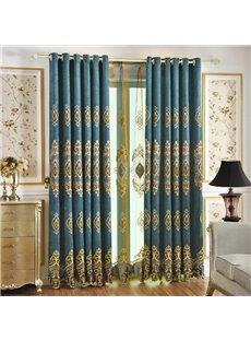 European Luxury Royal Blue Danube Upscale Chenille Blackout Custom Grommet Curtains