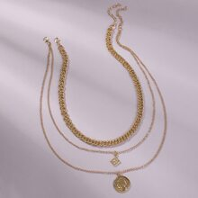 2pcs Greek Coin Charm Layered Necklace