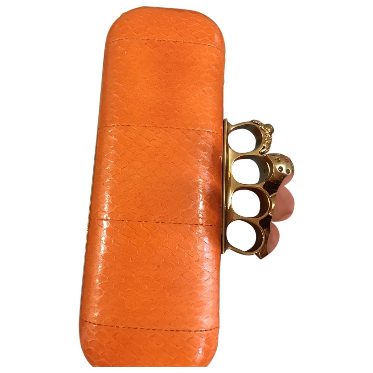 Alexander Mcqueen Skull Orange Python Clutch bag for Women N