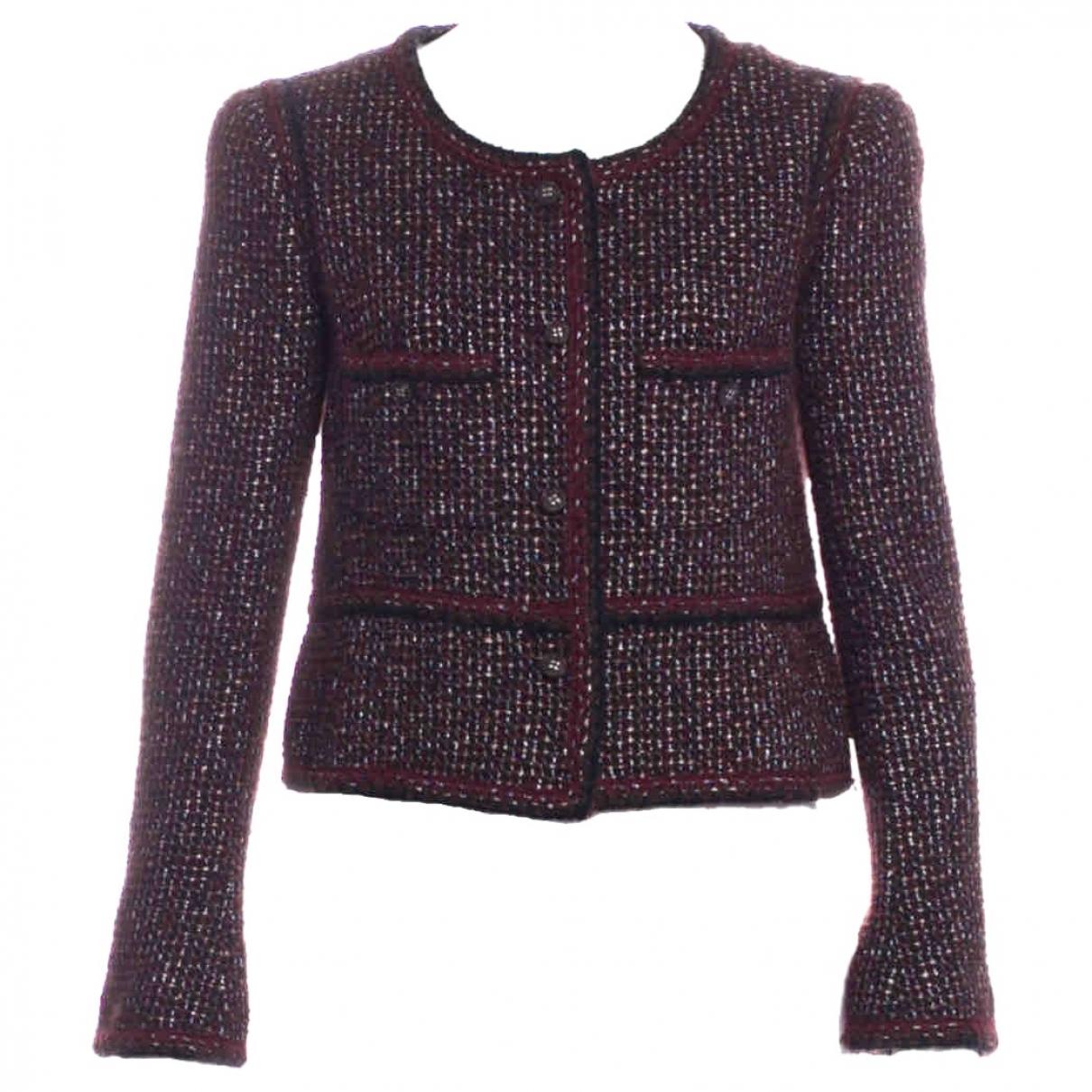 Chanel - Veste   pour femme en tweed - bordeaux