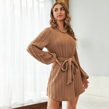 Lantern Sleeve Cable Knit Belted Dress