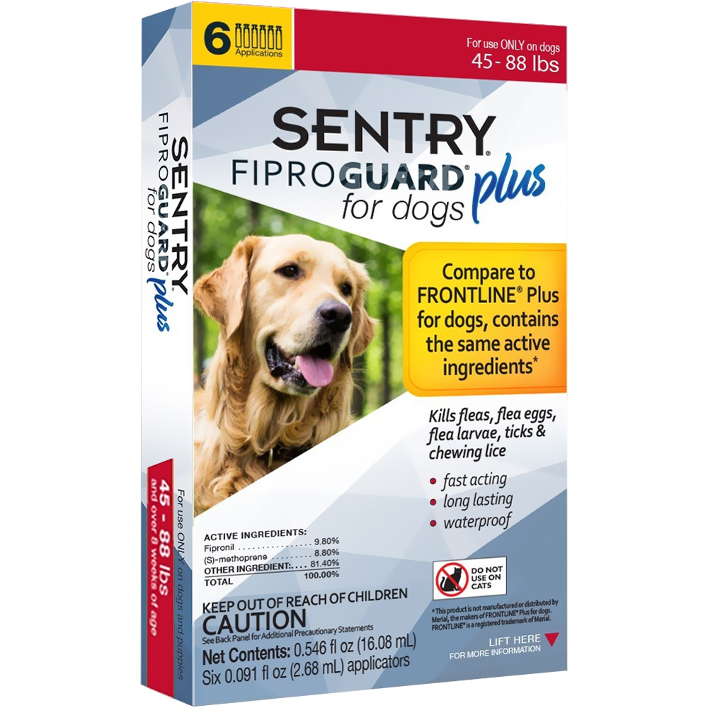 6-PACK SENTRY FiproGuard Plus Flea & Tick Spot-On for Dogs (45-88 lbs)
