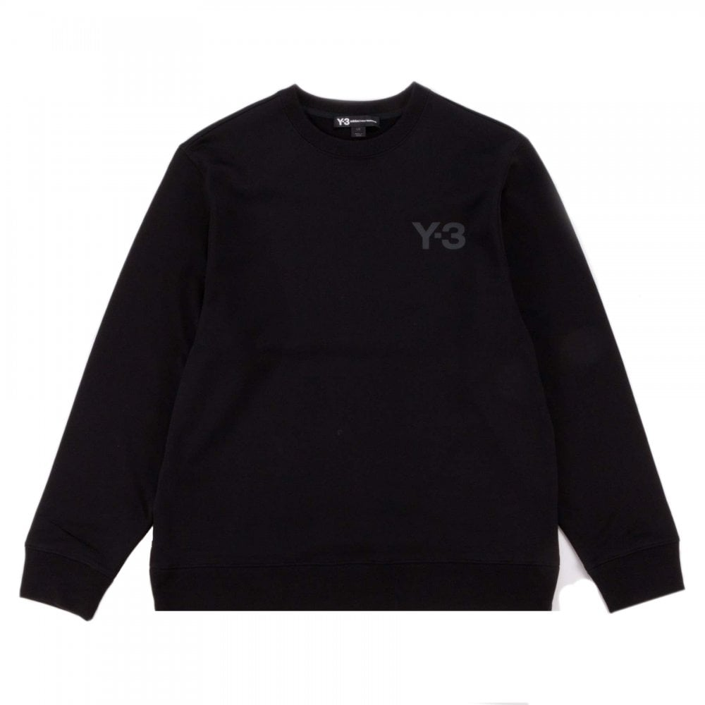 Y-3 M Logo Crew Sweater Colour: BLACK, Size: MEDIUM