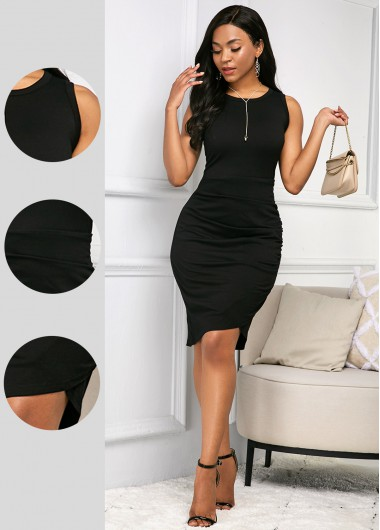 Rosewe Women Black Sleeveless Sheath Knee Length Soft Dress Solid Color Round Neck Casual Dress - XL