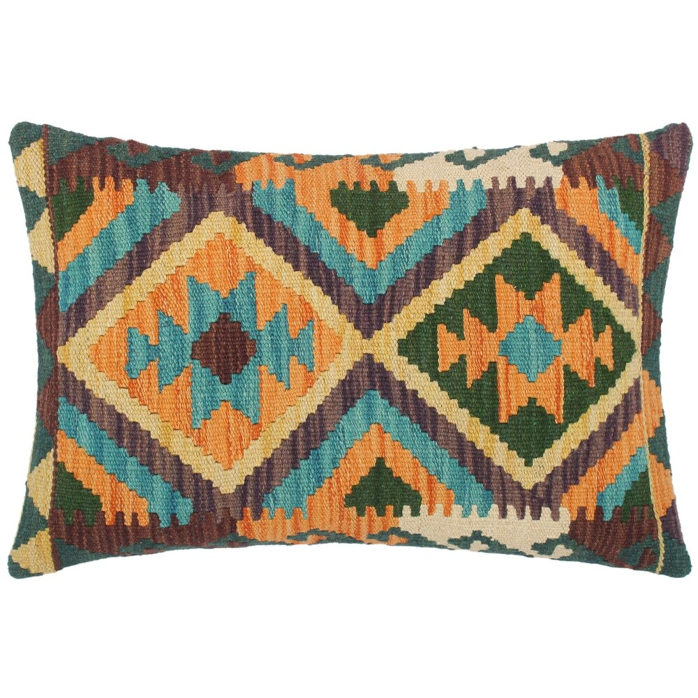 Bohemian Karissa Hand Woven Turkish Kilim Throw Pillow 21 in x 15 in (Accent - 21 in.x 15 in. - Polyester - Blue - Single)