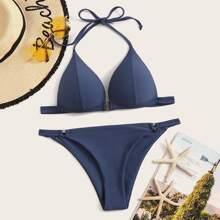 Dreieckiger Bikini Set mit Naht und Neckholder