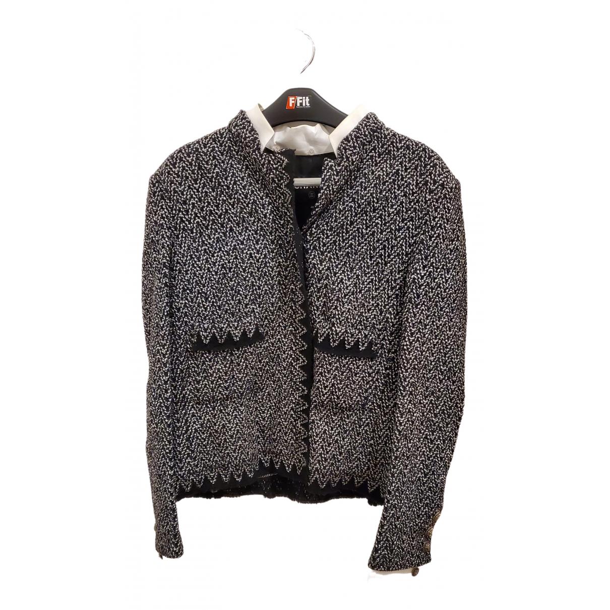 Chanel \N Jacke in  Schwarz Tweed