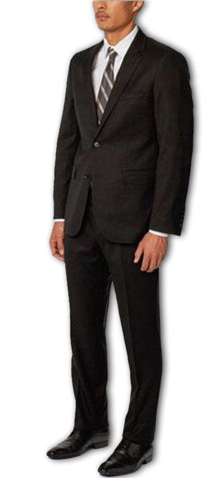 Men's Black  Notch Lapel 100% Wool Double Vent 2 Piece Suit