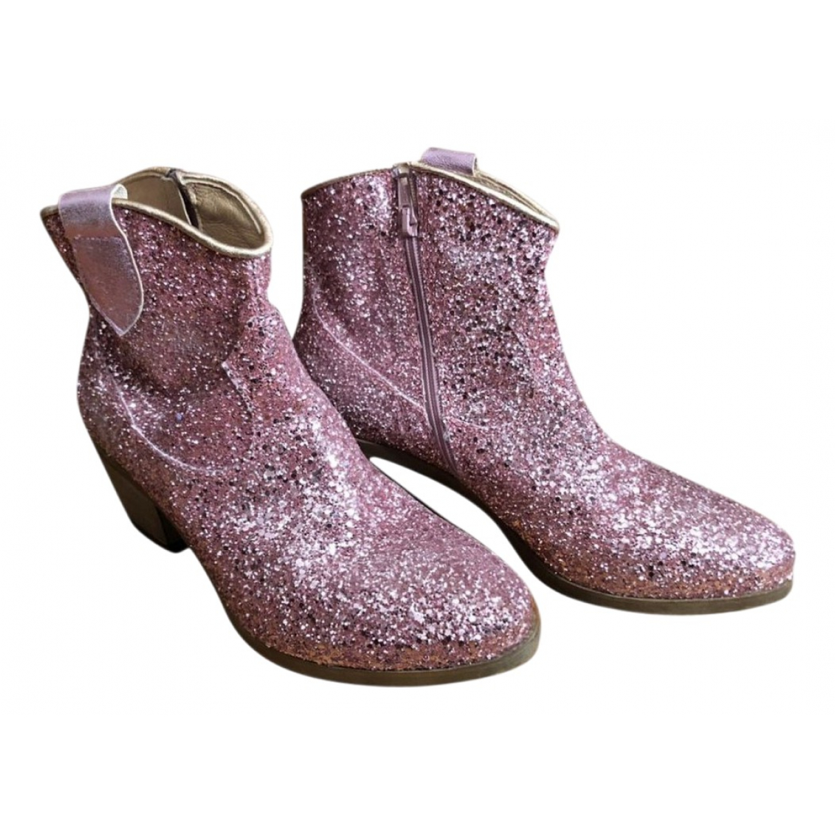Non Signé / Unsigned \N Pink Glitter Ankle boots for Women 38 EU